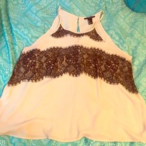 Forever 21 Pink Tank with Black Lace